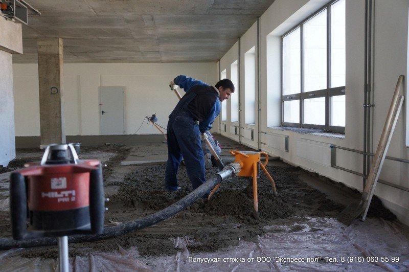 Скорость укладки бетонного пола до 300 кв.м