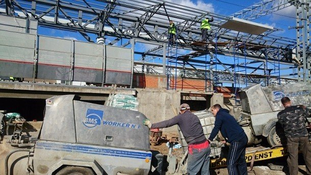 Укладка полистиролбетона на объекте станции ЖД платформы «Фили»