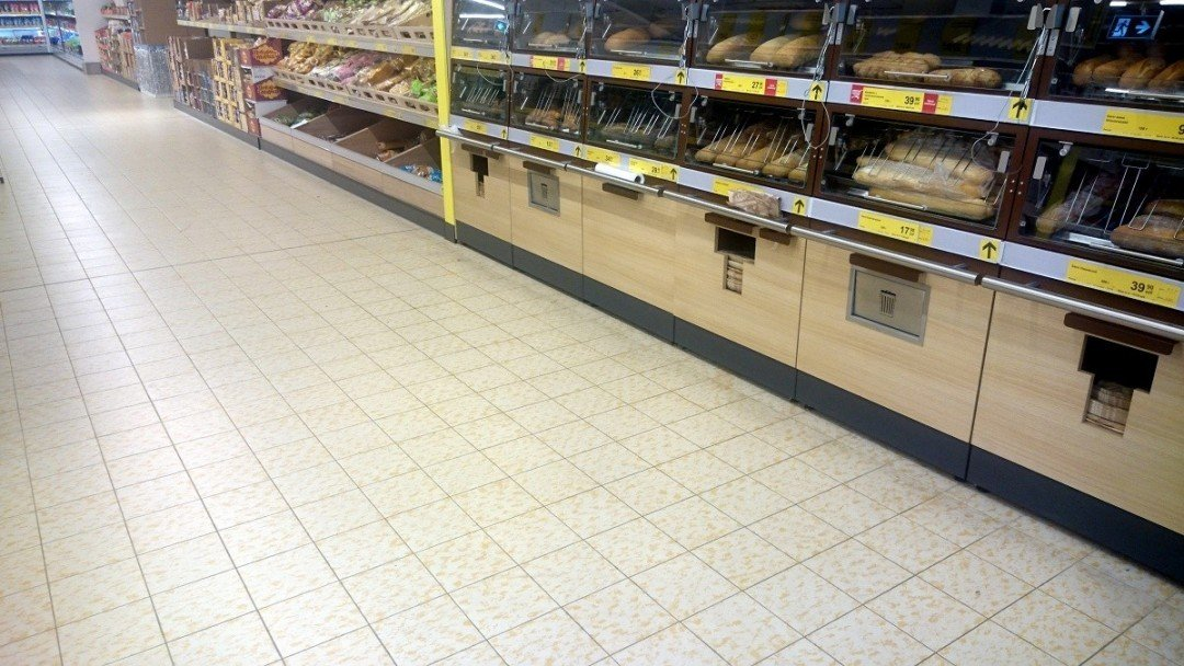 Магазин, виброукладка плитки Agrob Buchtal